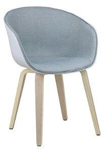 Cadeira Elegance Branco/Cinza Claro Wood em tecido