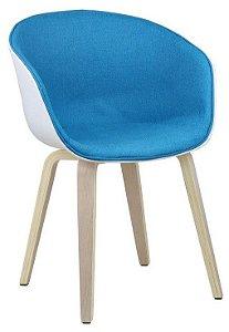 Cadeira Elegance Branco/Turquesa Wood em tecido