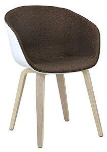 Cadeira Elegance Branco/Café Wood em tecido