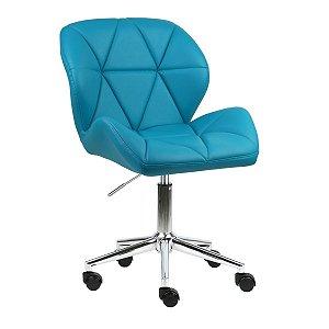 Cadeira Australia Turquesa em PU Base Estrela Rodízio