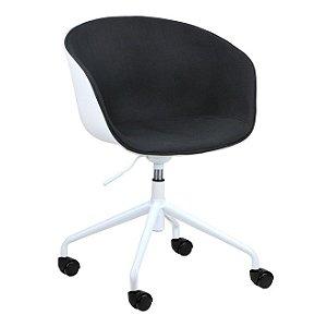Cadeira Elegance Office Branco/Preto em PP/tecido