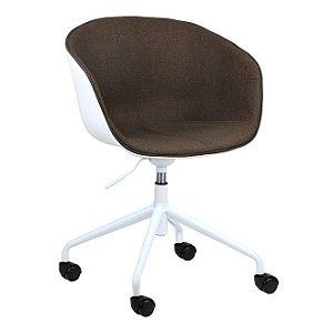 Cadeira Elegance Office Branco/Café em PP/tecido