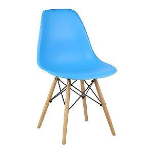 Cadeira Azul Charles Eames Wood Dsw em PP