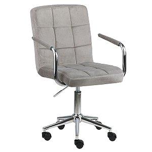 Cadeira Canadá Nude em Suede Base Estrela Cromada com Rodízio