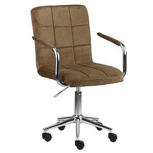 Cadeira Canadá Caramelo em Suede Base Estrela Cromada com Rodízio