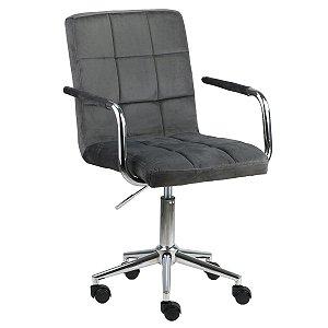 Cadeira Canadá Cinza Escuro em Suede Base Estrela Cromada com Rodízio