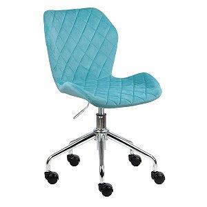 Cadeira Belize Turquesa em Suede Base Rodízio
