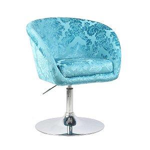 Poltrona Bélgica Azul Tiffany em Suede Base Disco