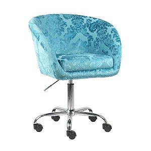 Poltrona Bélgica Azul Tiffany em Suede Base Rodízio