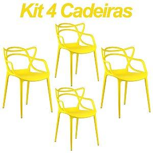 Kit 4 Cadeiras Masters Allegra Amarela em Polipropileno