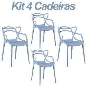 Kit 4 Cadeiras Masters Allegra Azul Claro em Polipropileno