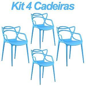 Kit 4 Cadeiras Masters Allegra Azul em Polipropileno