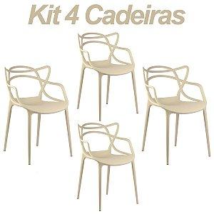 Kit 4 Cadeiras Masters Allegra Bege em Polipropileno