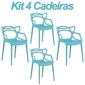 Kit 4 Cadeiras Masters Allegra Azul Tiffany em Polipropileno