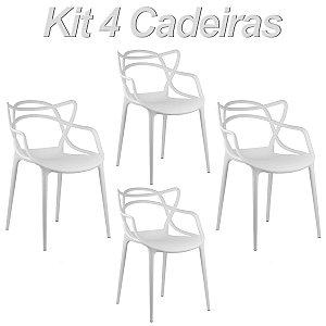 Kit 4 Cadeiras Masters Allegra Branca em Polipropileno