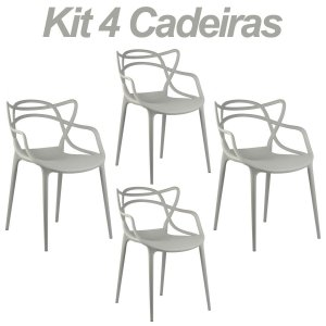Kit 4 Cadeiras Masters Allegra Cinza Claro em Polipropileno