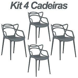 Kit 4 Cadeiras Masters Allegra Cinza Escuro em Polipropileno