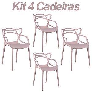 Kit 4 Cadeiras Masters Allegra Rosa em Polipropileno