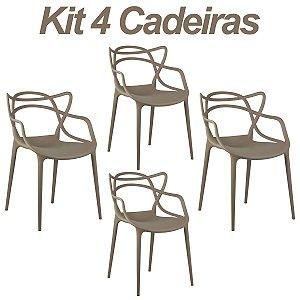 Kit 4 Cadeiras Masters Allegra Nude em Polipropileno