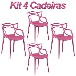 Kit 4 Cadeiras Masters Allegra Pink em Polipropileno