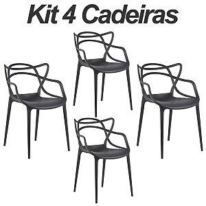 Kit 4 Cadeiras Masters Allegra Preta em Polipropileno