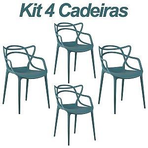 Kit 4 Cadeiras Masters Allegra Turquesa em Polipropileno