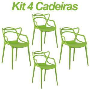 Kit 4 Cadeiras Masters Allegra Verde em Polipropileno