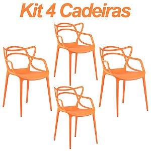 Kit 4 Cadeiras Masters Allegra Laranja em Polipropileno