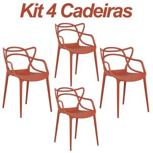 Kit 4 Cadeiras Masters Allegra Laranja Escuro em Polipropileno