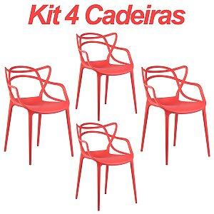 Kit 4 Cadeiras Masters Allegra Vermelha em Polipropileno