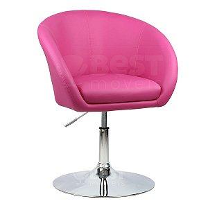 Poltrona Bélgica Pink em PU Base Disco