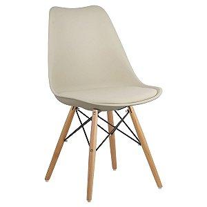 Cadeira Bege Charles Eames Dsw Soft em PP/PU