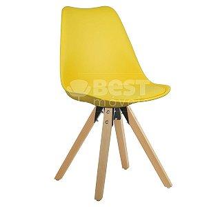 Cadeira Amarela Charles Eames Modern Soft em PP/PU