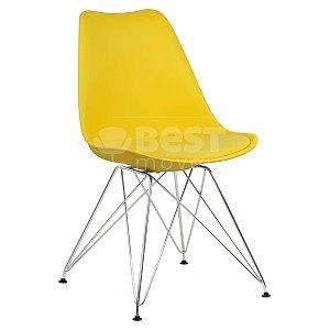 Cadeira Amarela Charles Eames Eiffel Soft em PP/PU