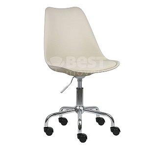 Cadeira Bege New Soft Office em PP/PU