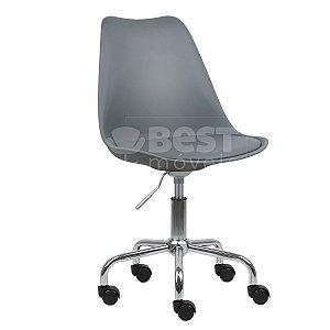 Cadeira Cinza Escuro New Soft Office em PP/PU