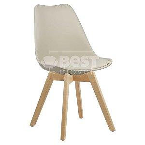 Cadeira Bege Charles Eames Style Soft em PP/PU