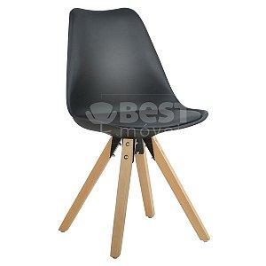 Cadeira Preta Charles Eames Modern Soft em PP/PU