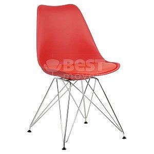 Cadeira Vermelha Charles Eames Eiffel Soft em PP/PU