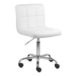 Cadeira Noruega Branco em PU Base Rodízio
