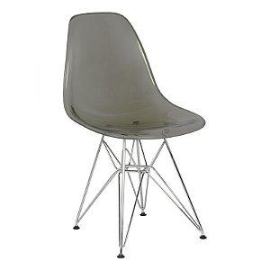 Cadeira New Fumê em PC Base Cromada
