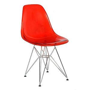 Cadeira New Vermelha em PC Base Cromada