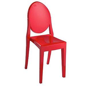 Cadeira Vermelho Sólido Victoria Ghost em Policarbonato