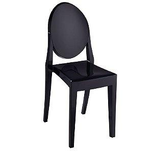 Cadeira Preto Sólido Victoria Ghost em Policarbonato