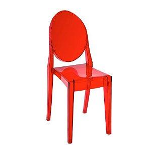Cadeira Vermelho Translucido Victoria Ghost em Policarbonato