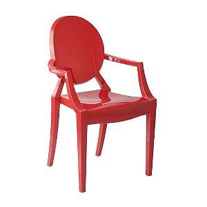 Cadeira Vermelho Sólido Louis Ghost em Policarbonato