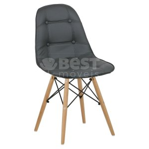 Cadeira Cinza Escuro Botonê Dsw Charles Eames em PU
