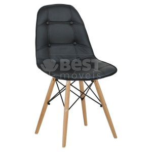 Cadeira Preta Botonê Dsw Charles Eames em PU