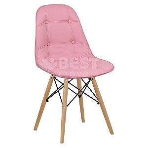 Cadeira Rosa Botonê Dsw Charles Eames em PU