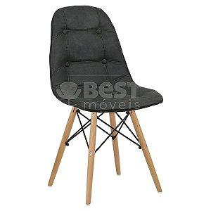 Cadeira Cinza Escuro Botonê Dsw Charles Eames em PU Cowboy